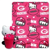 Green Bay Packers Hello Kitty Hugger and Fleece Throw Set