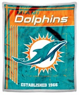 "Miami Dolphins NFL ""Old School"" Mink Sherpa Throw"