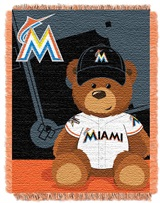 "Miami Marlins MLB ""Field Bear"" Baby Woven Jacquard Throw"