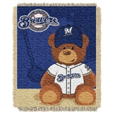 "Milwaukee Brewers MLB ""Field Bear"" Baby Woven Jacquard Throw"