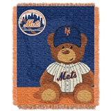 "New York Mets MLB ""Field Bear"" Baby Woven Jacquard Throw"
