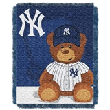 "New York Yankees MLB ""Field Bear"" Baby Woven Jacquard Throw"