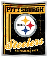 "Pittsburgh Steelers NFL ""Old School"" Mink with Sherpa Throw"