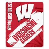 "Wisconsin ""Painted"" Fleece Throw"