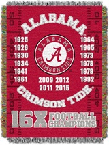 Alabama Crimson Tide NCAA Commemorative Woven Tapestry Throw