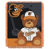 "Baltimore Orioles MLB ""Field Bear"" Baby Woven Jacquard Throw"
