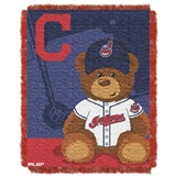 "Cleveland Indians MLB ""Field Bear"" Baby Woven Jacquard Throw"