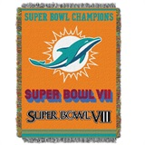"Miami Dolphins NFL ""Commemorative"" Woven Tapestry Throw"
