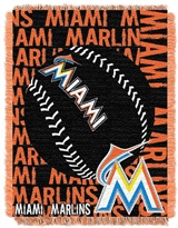 "Miami Marlins MLB ""Double Play"" Woven Jacquard Throw"