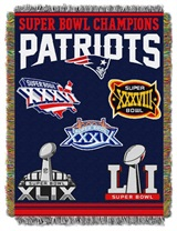 "New England Patriots NFL ""Commemorative"" Woven Tapestry Throw"