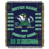 Notre Dame Fighting Irish NCAA Commemorative Woven Tapestry Throw
