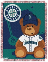 "Seattle Mariners MLB ""Field Bear"" Baby Woven Jacquard Throw"